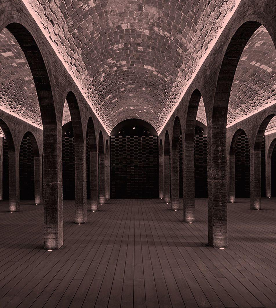 Composición de arcos en un interior